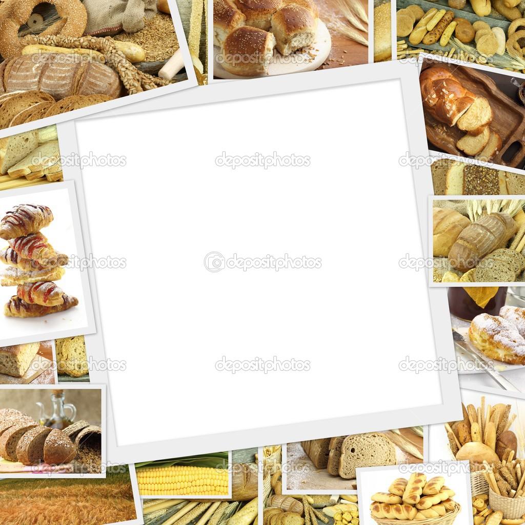collage con marco blanco en el medio y productos horneados — Foto de ...