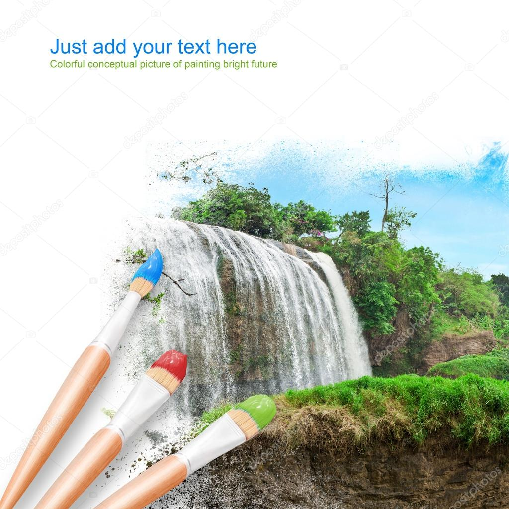 White background with three paintbrushes painting beautiful land