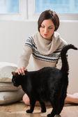 Fotografie velká černá kočka přijde majiteli dostat trochu něhy a péče