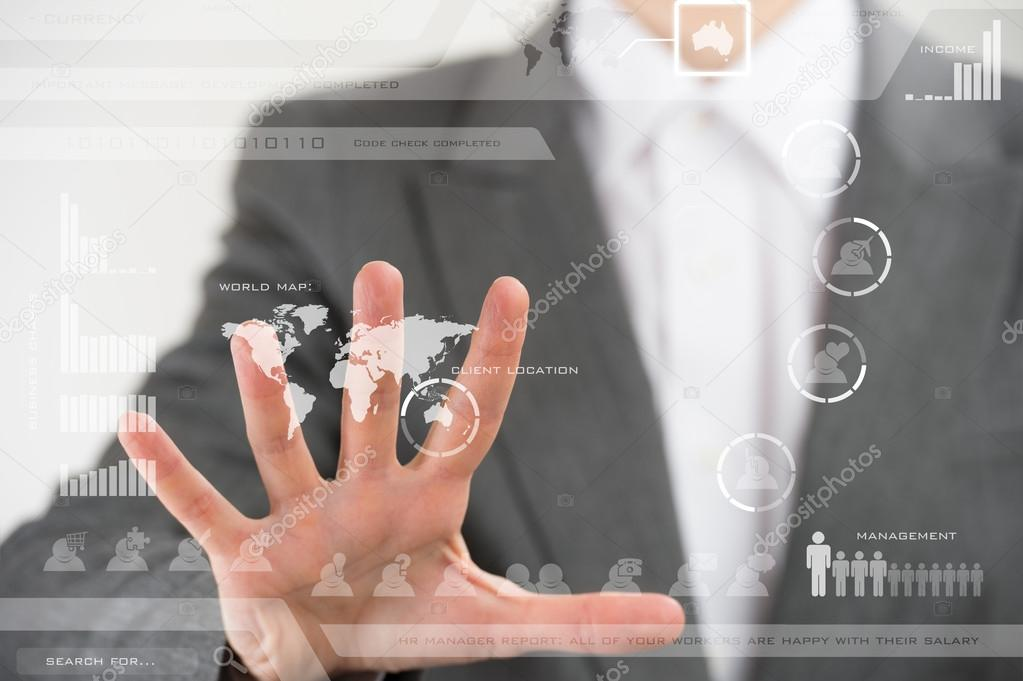 Future technology. Touch button interface. Business woman with v