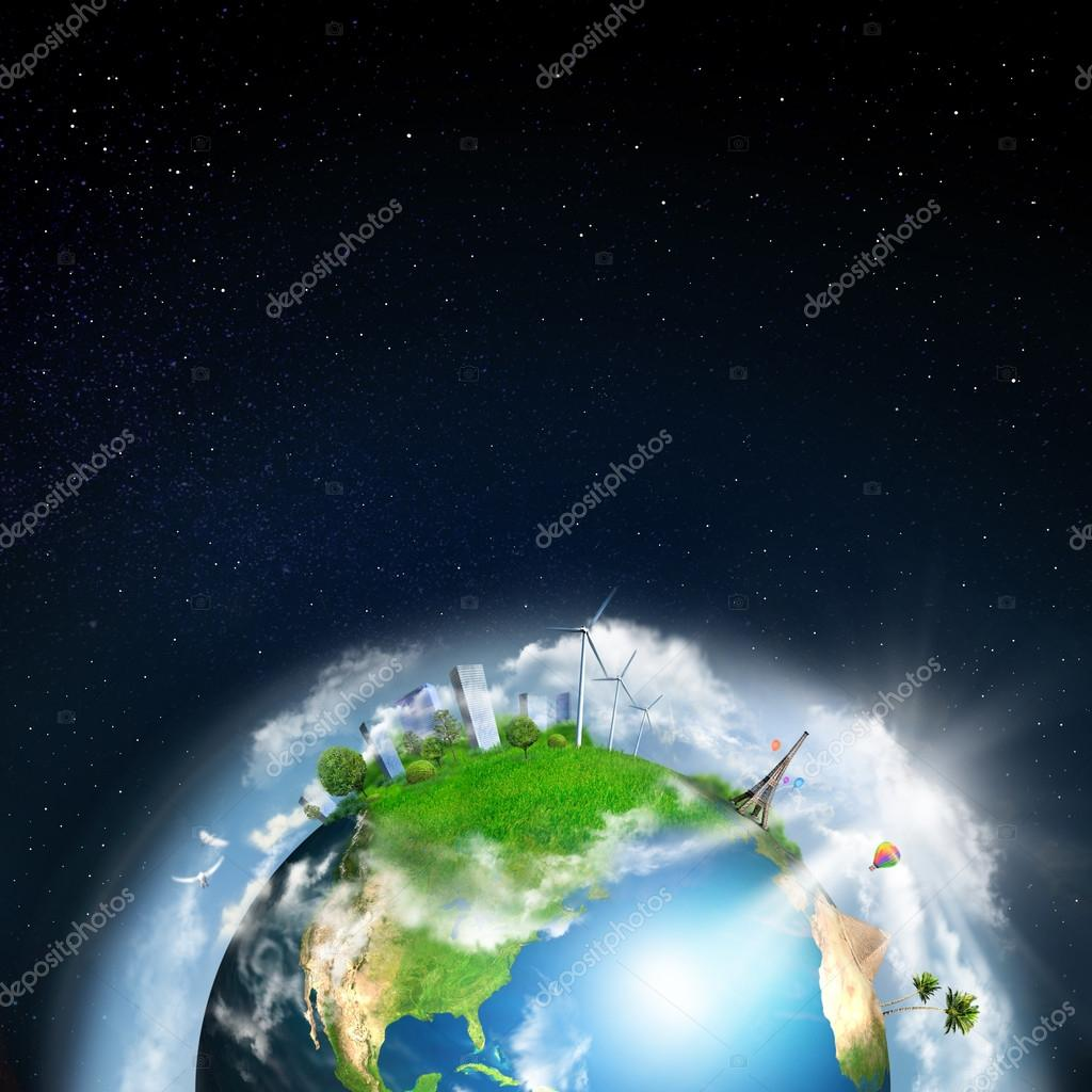Earth with different elements on its surface. Night time