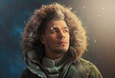Sexy man in winter