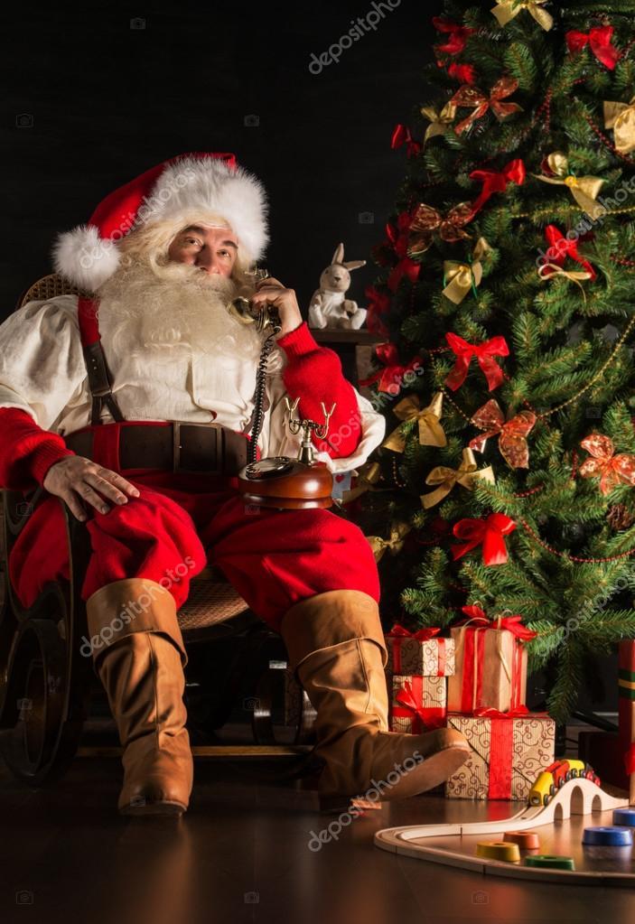 Immagini Babbo Natale Vintage.Babbo Natale La Chiamata Di Phon Vintage Foto Stock