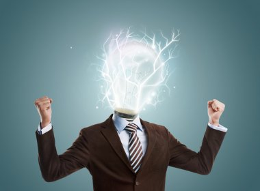 Idea concept, lamp head businessman full of energy to create and work