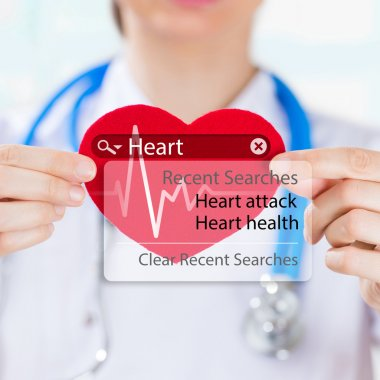 Doctor holding heart and heartbeat symbol with search engine and heart attack sign stock vector
