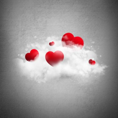 Red hearts in cloud. Valentine's day background stock vector