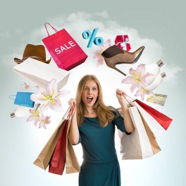 kadın alışveriş kavramı