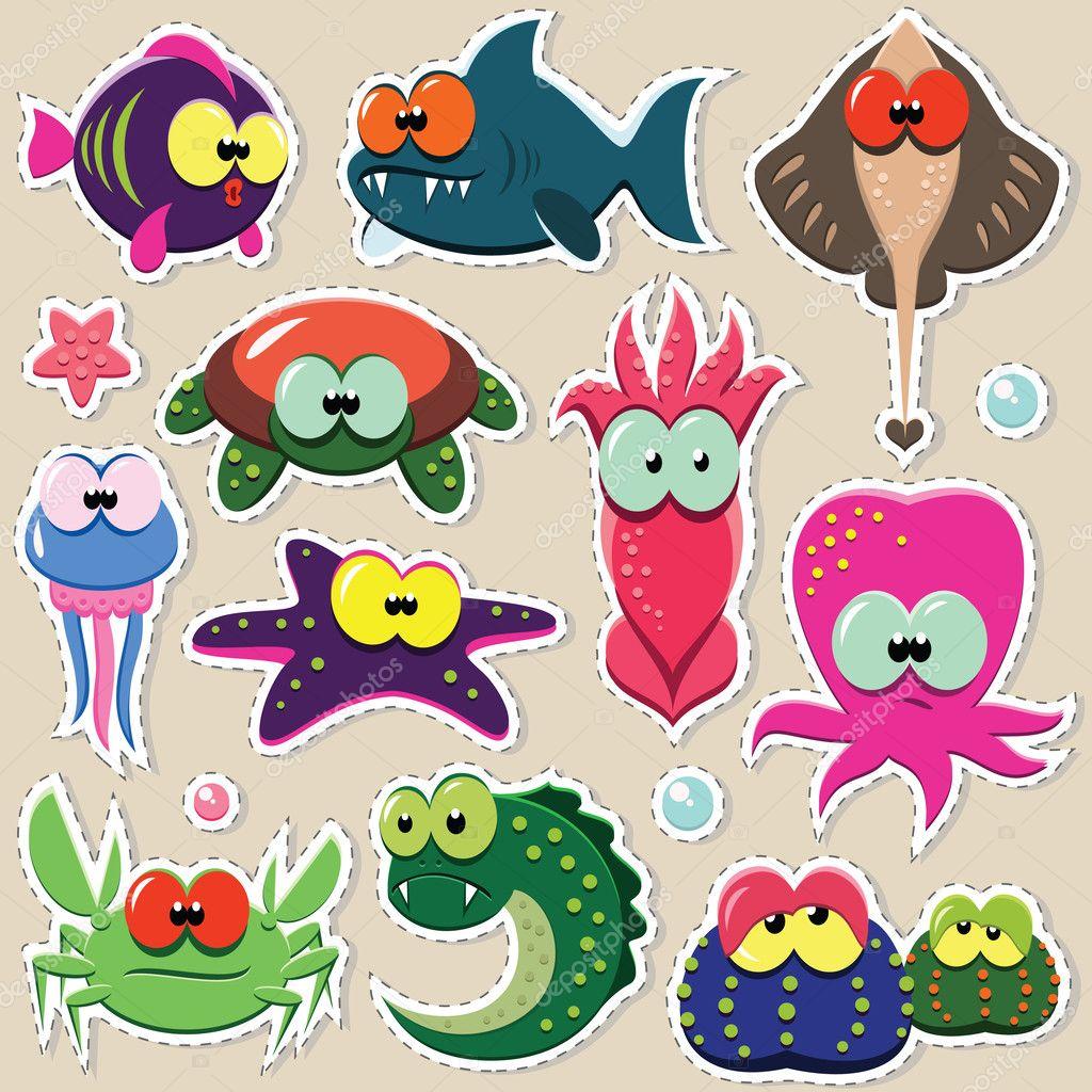 Sea animal stickers set