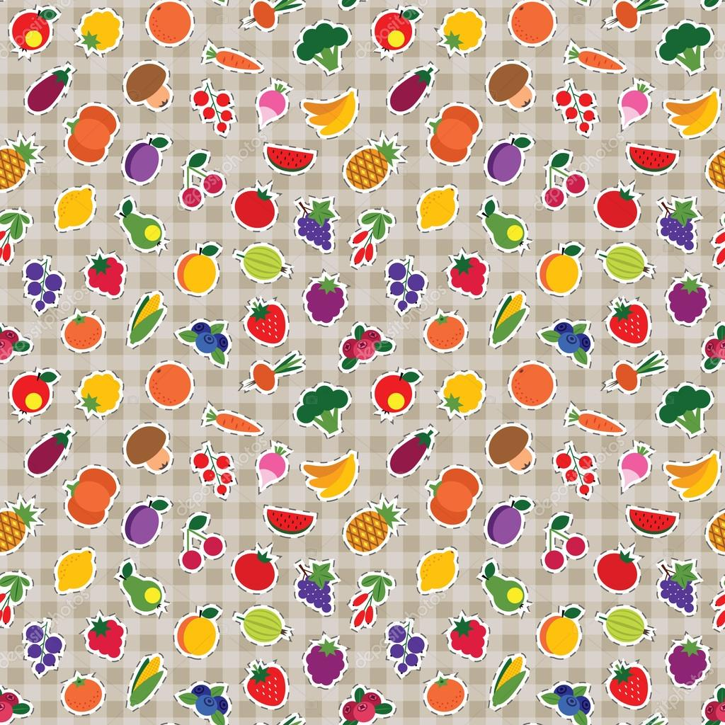 Seamless fruit and vegetable pattern
