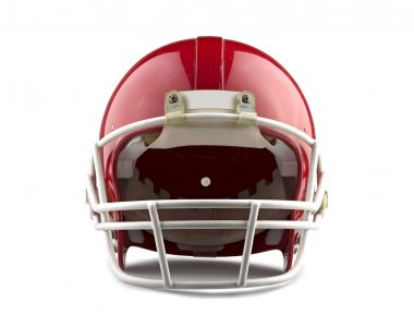 Red American football helmet isolated on a white background with detailed clipping path. stock vector