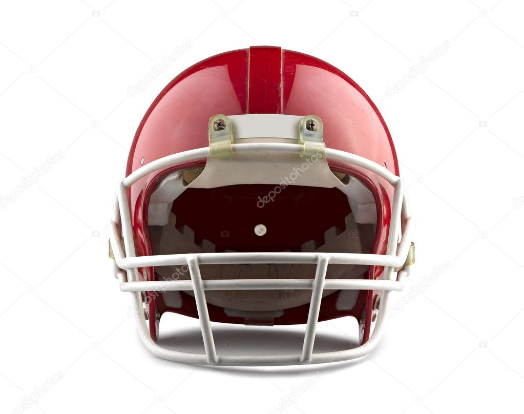 Red American football helmet isolated on a white background with