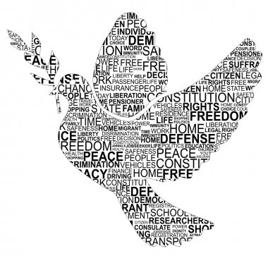 Dove shape for human rights