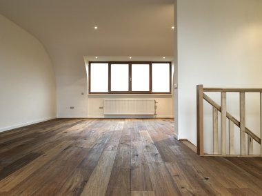 modern interior with wooden floor