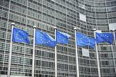 evropské vlajky před berlaymont, budova, sídlo