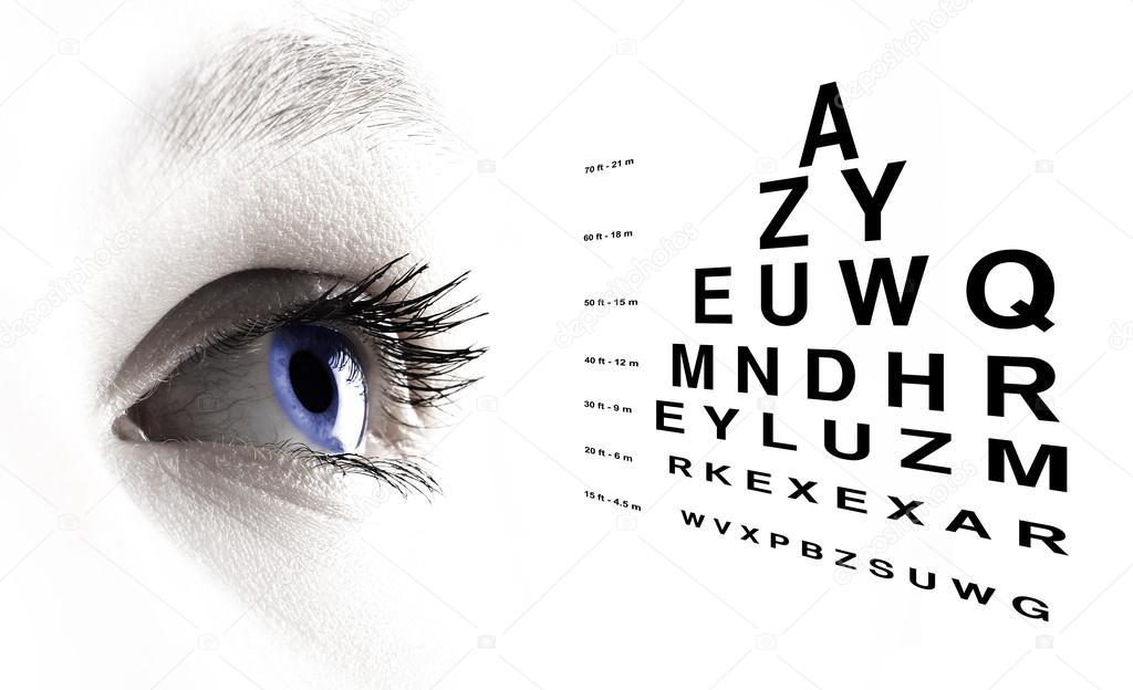 Eye With Test Vision Chart Close Up Stock Photo Bombaert 45703831