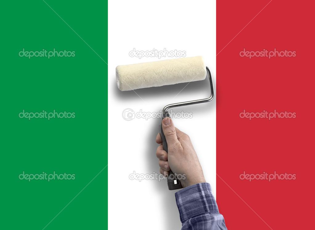 Insan Eli Ile Italyadan Bayrağı Boyama Stok Foto Bombaert 46426609