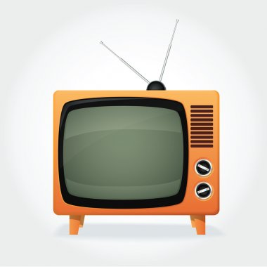 CUte retro TV set, orange cover and tiny antenna stock vector