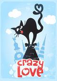 Fotografia gatto nero sullamore