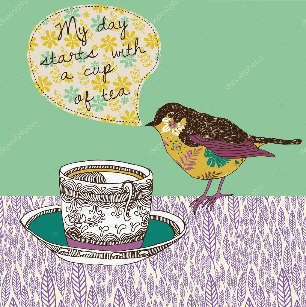 Teetasse und Vogel — Stockvektor © Lavandaart #14954971