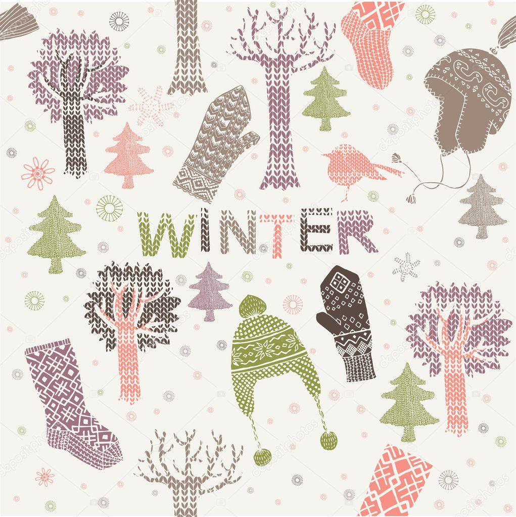 patrón sin costuras de invierno con sombreros, guantes y calcetines ...