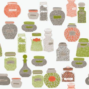Glass bottles full of different species