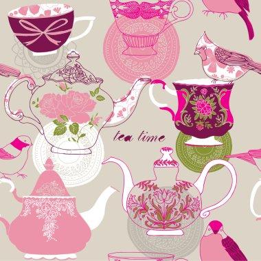 Tea time. seamless background