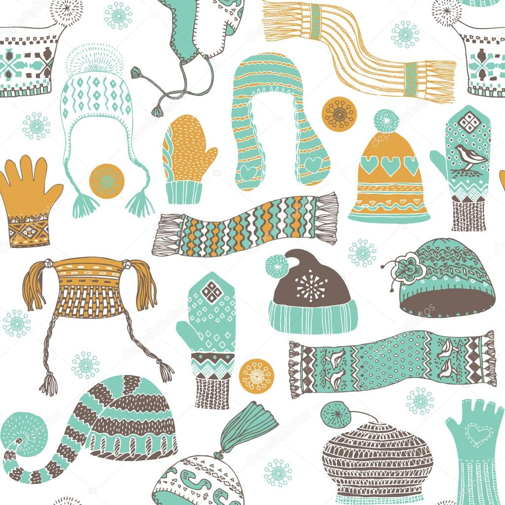 Seamless pattern of winter woollies