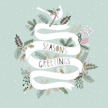Seasons Greetings Card Design stock vector
