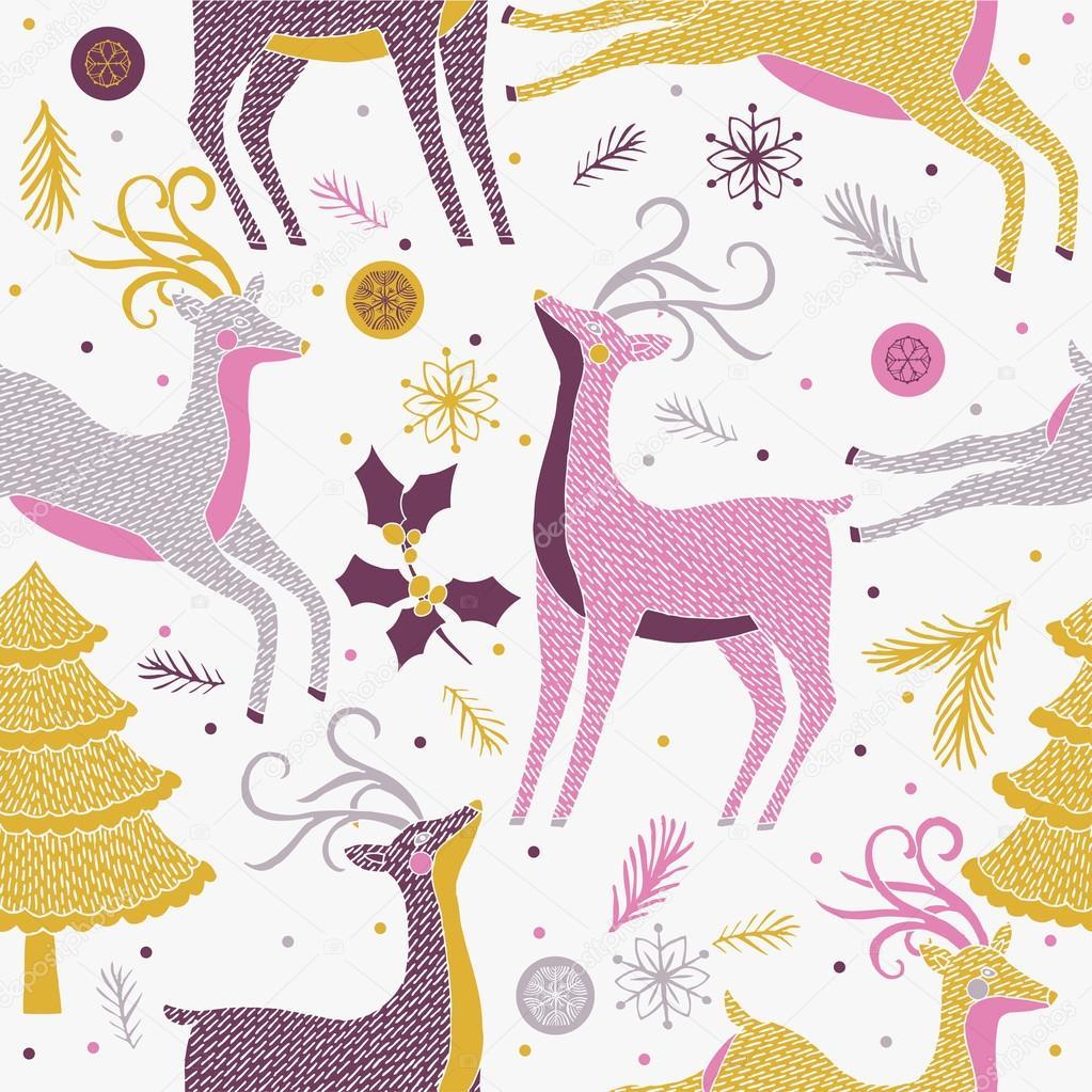 Navidad renos de patrones sin fisuras — Vector de stock © Lavandaart ...