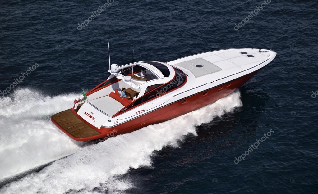 Italy, off the coast of Naples, Azzurra luxury yacht (boatyard: Cantieri di Baia), aerial view
