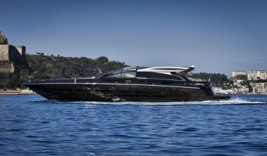 Italy, Baia (Naples), Baia 100 luxury yacht (boatyard: Cantieri di Baia)
