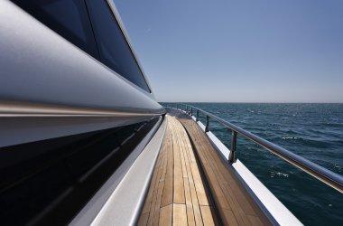 Italy, Fiumicino (Rome), Alfamarine 72 luxury yacht, sidewalk