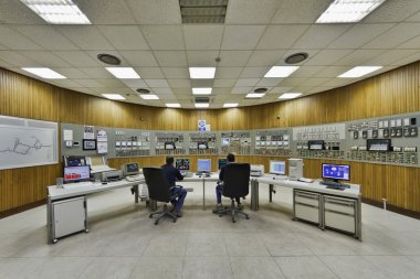 Italy, Maddaloni (Naples), cement factory, controls room