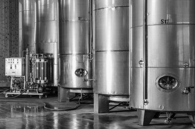 Italy, Sicily, Ragusa province, countryside, stainless steel wine containers in a wine factory