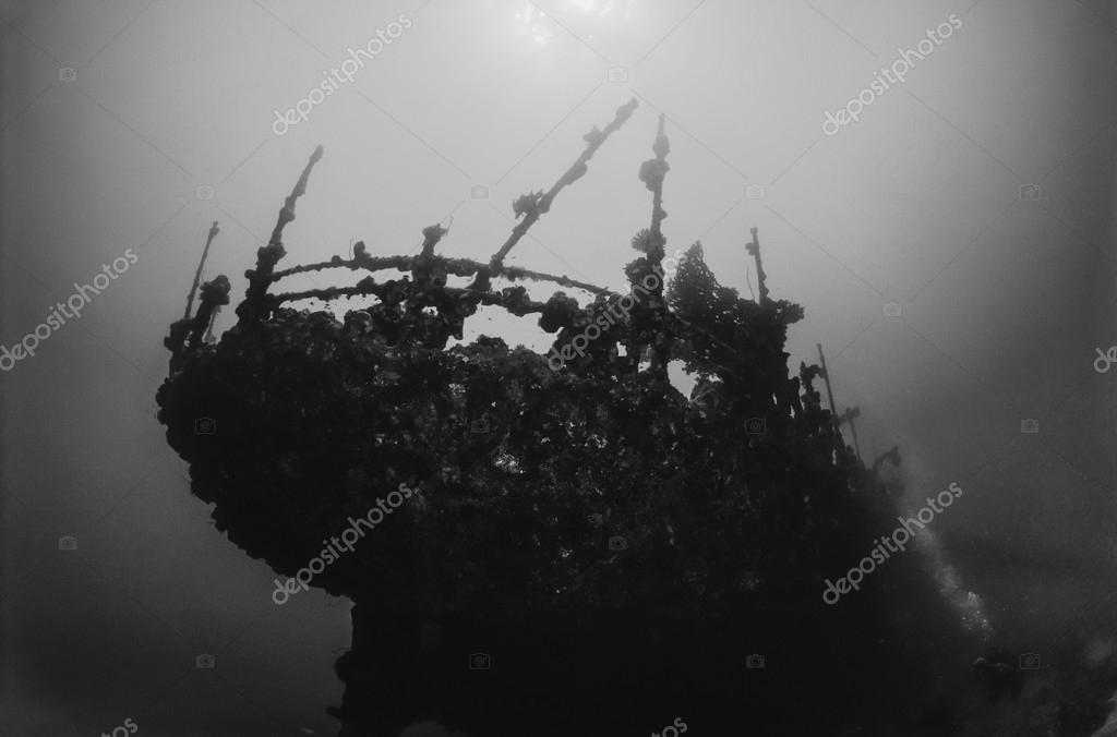 SUDAN, Red Sea, U.W. photo, wreck, the stern of the sunken ship