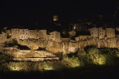 Italy, Tuscany, Pitigliano town by night