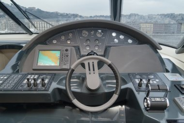 Luxury yacht driving consolle
