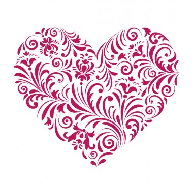 Vector illustration of red valentine heart isolated on white background. clip art vector