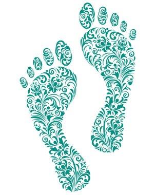 Green human footprints