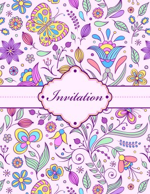 Vector illustration of colorful floral invitation card ( or place your text) stock vector