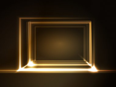 Glowing rectangular frame with light effects