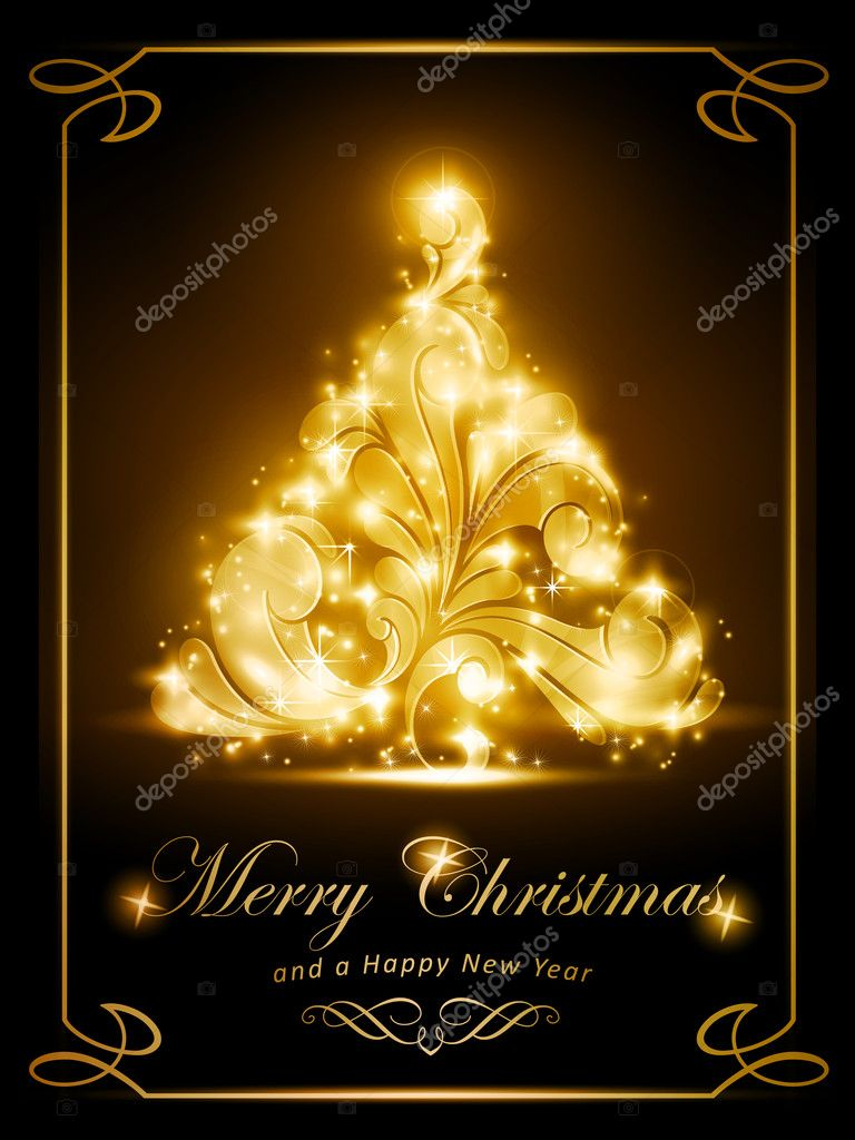 Elegant Christmas card party invitation Stock Vector wenani