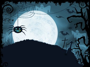 Blue Halloween background with scary spider