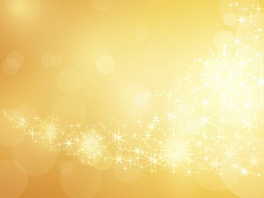 Festive golden background with shiny stars, snow flakes and bokeh lights. stock vector