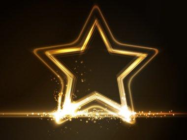 Golden glowing star frame