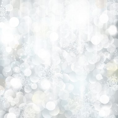 Glittering silver Christmas background with blurred lights