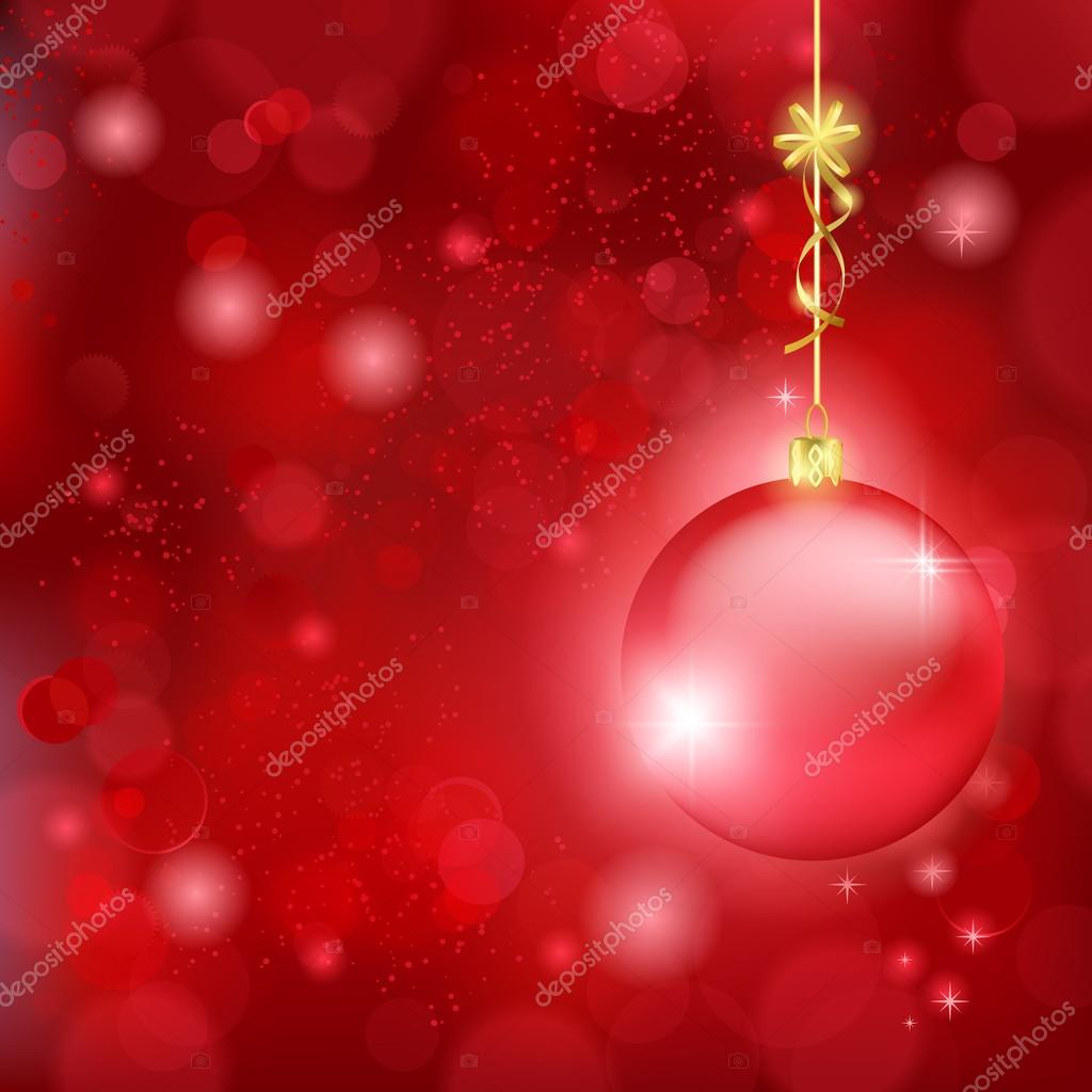 beautiful red christmas background with bauble and golden bow