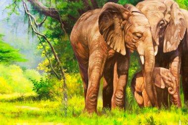 "Картина, постер, плакат, фотообои ""живопись. слон. картина цветы все"", артикул 24352919"