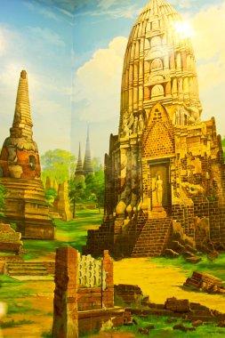 """Картина, постер, плакат, фотообои """"живопись. город аюттхая в тайлане картина цветы"""", артикул 24377831"""