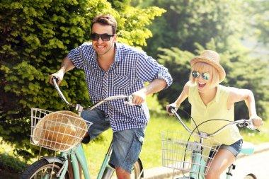 Tourist cycling the city